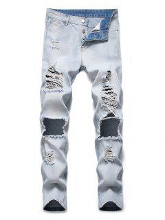 Destroyed Hole Decoration Button Fly Jeans - Jeans Blue 34