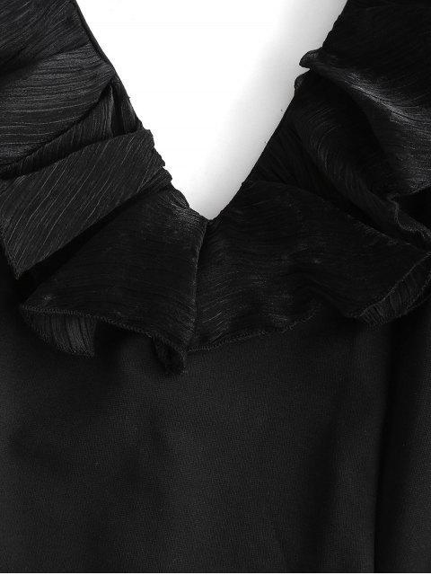 Vestito Aderente a Fessura con Pannello in Tulle di ZAFUL - Nero M Mobile