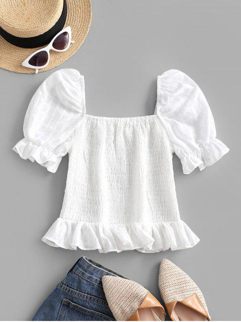 hot Smocked Puff Sleeve Ruffle Milkmaid Top - WHITE XL Mobile