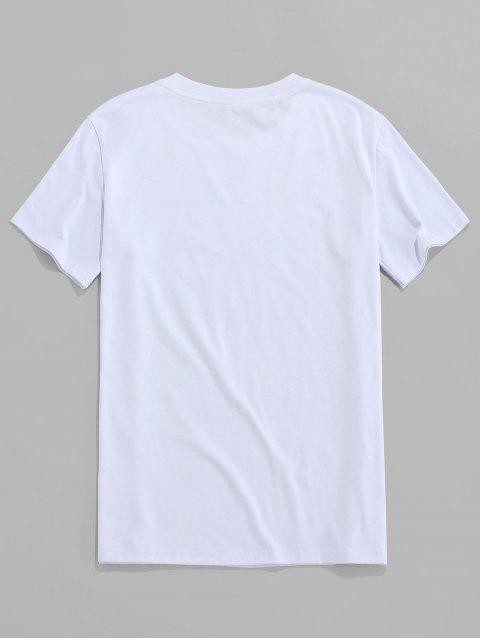 ZAFUL Slogan Letter Printed Short Sleeves T-shirt - أبيض S Mobile