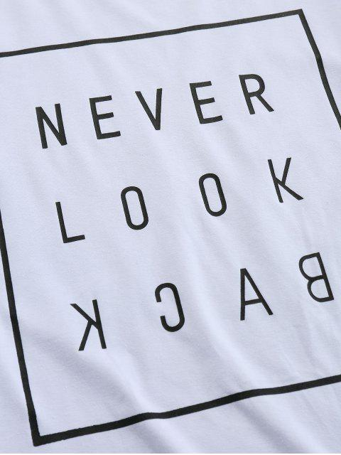 ZAFUL Slogan Buchstabedruck T-Shirt mit Kurzen Ärmeln - Weiß 2XL Mobile