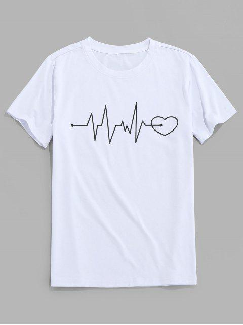 lady ZAFUL Graphic Heart Print Short Sleeves T-shirt - WHITE S Mobile