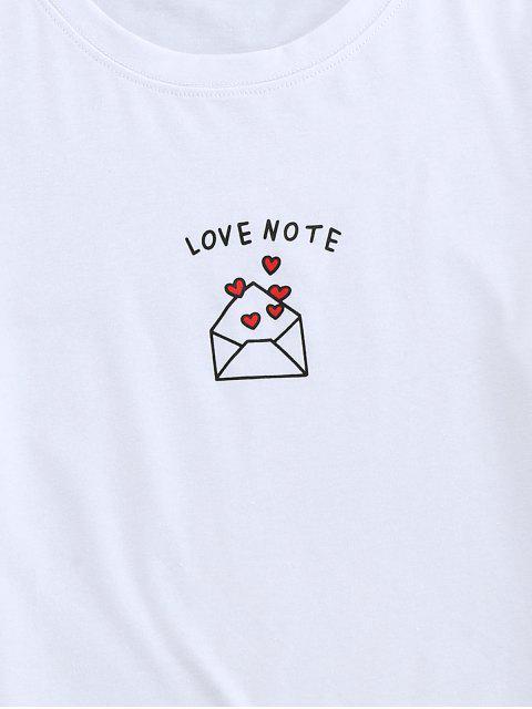 T-Shirt di ZAFUL Stampata a Cuore con Maniche Corte - Bianca L Mobile