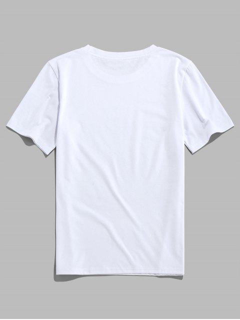 ZAFUL Letter Heart Print Short Sleeves T-shirt - أبيض 2XL Mobile