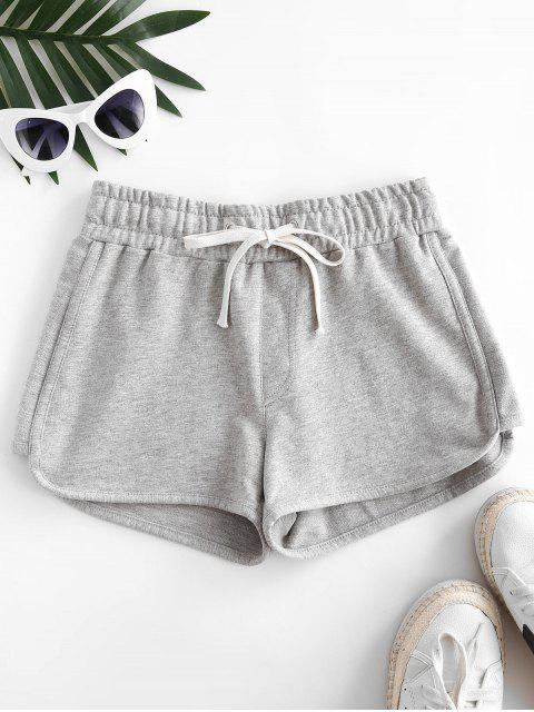 ladies Drawstring Embroidered Sweatshorts - LIGHT GRAY L Mobile