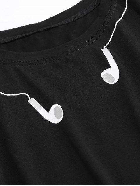 ZAFUL Camiseta Básica com Estampa de Fones de Ouvido - Preto 2XL Mobile