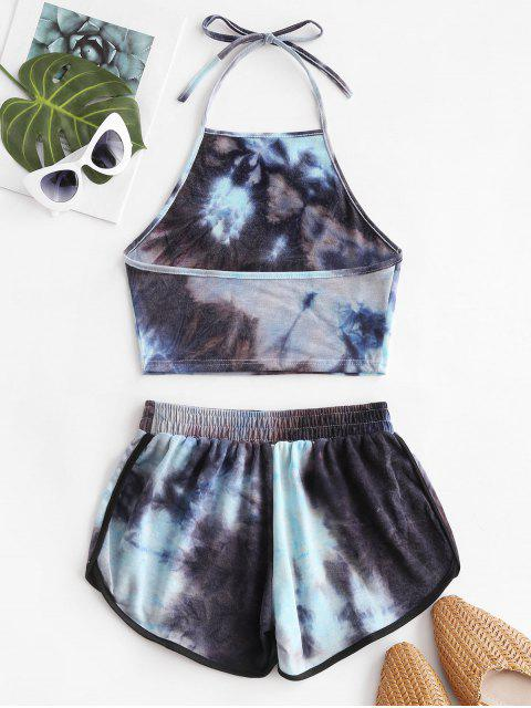 latest Two Piece Halter Tie Dye Dolphin Shorts Set - MULTI-A M Mobile