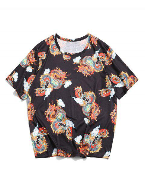 fancy Dragon Clouds Print Oriental T-shirt - BLACK 2XL Mobile