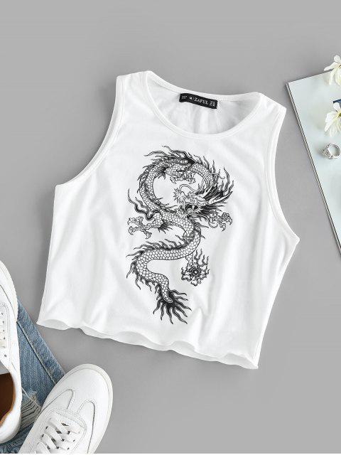 ZAFUL Alface Guarnição do Dragão Impressão Cortado Cortado - Branco M Mobile