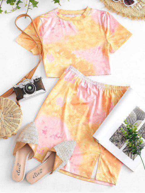 chic Tie Dye Slit Two Piece Dress Set - PINK M Mobile