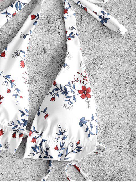 ladies ZAFUL Halter Plant Print String Bikini Swimwear - WHITE S Mobile