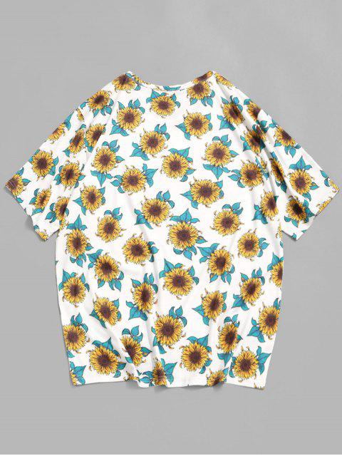 Sunflower Print Casual T-shirt - أبيض M Mobile