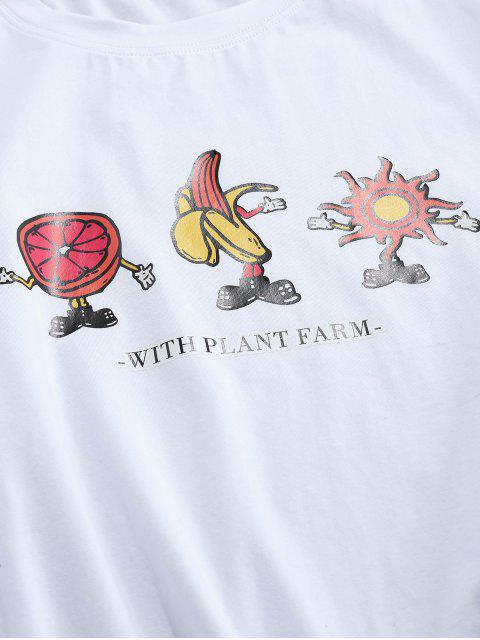 lady ZAFUL Cartoon Fruit and Sun Print Basic T-shirt - WHITE 2XL Mobile