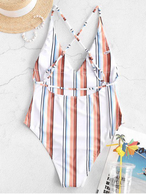 outfits ZAFUL Striped Crisscross Backless One-piece Swimsuit - MULTI-A M Mobile