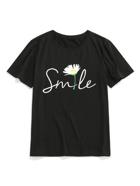 ZAFUL Floral Letter Printed Short Sleeves T-shirt - أسود XL Mobile