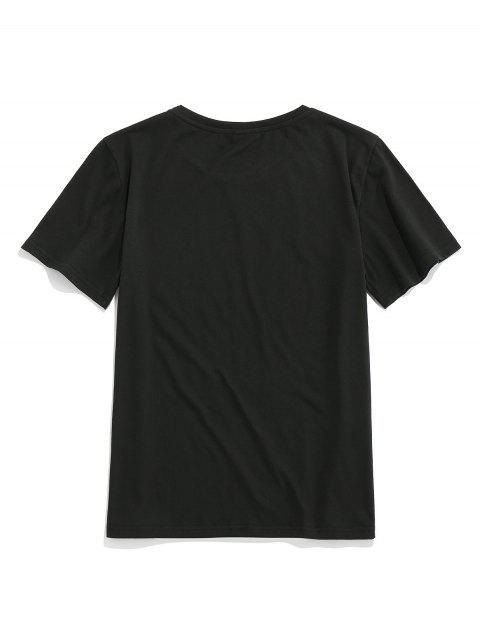 ZAFUL T-shirt de Mangas Curtas Padrão de Letra - Preto XL Mobile