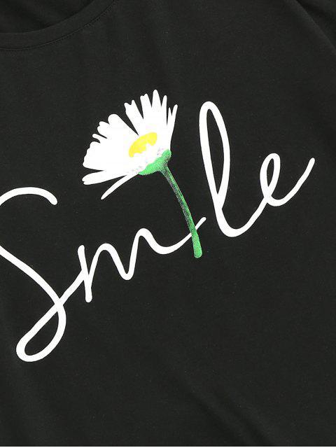 T-Shirt Floreale Stampata a Lettere con Maniche Corte di ZAFUL - Nero XL Mobile