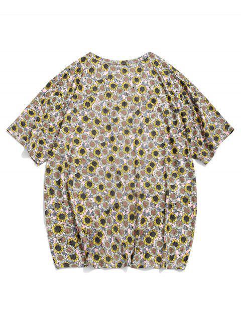 T-shirt Casuale Stampata Girasole con Maniche Corte - Multi Colori-A M Mobile
