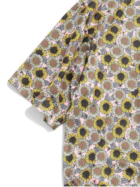 shops Sunflower Print Short Sleeve Casual T-shirt - MULTI-A M Mobile