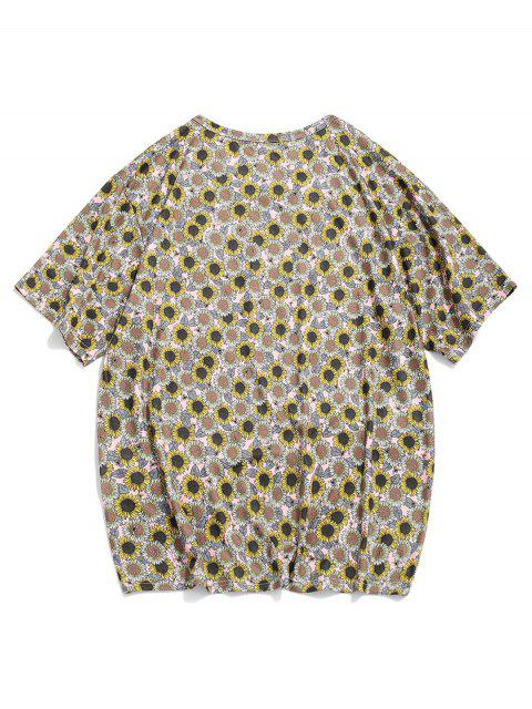Kurzärmliges Lässiges T-Shirt mit Sonnenblumenmuster - Multi-A XL Mobile