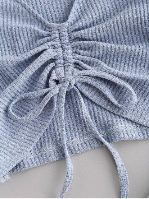 women's Colorblock Textured Cinched Raglan Sleeve Pocket Shorts Set - PASTEL BLUE L Mobile