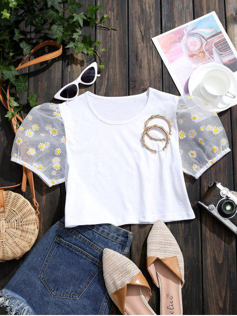 ladies Floral Organza Puff Sleeve Crop Tee - WHITE S Mobile