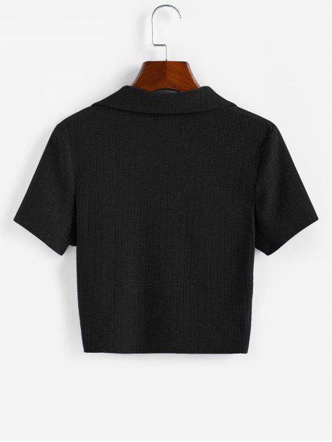 ZAFUL T-Shirt mit Geripptem V Ausschnitt - Schwarz L Mobile
