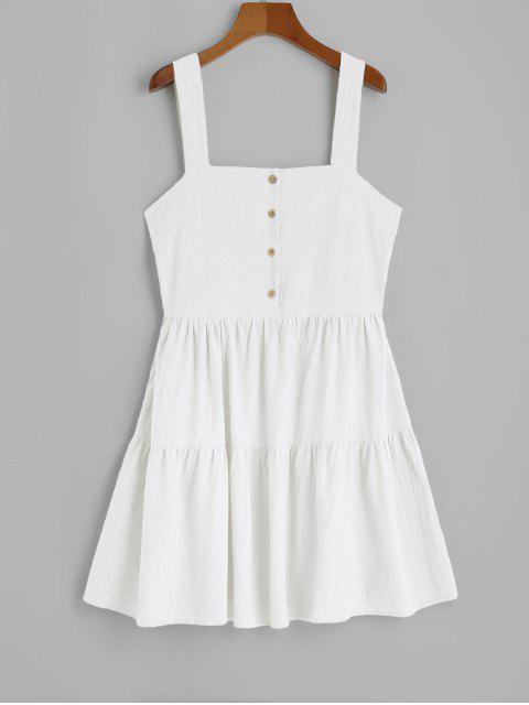 sale ZAFUL Casual Half Buttoned Straps Mini Dress - WHITE L Mobile