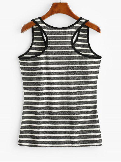 outfits Stripes Muscle Ringer Tank Top - CARBON GRAY M Mobile