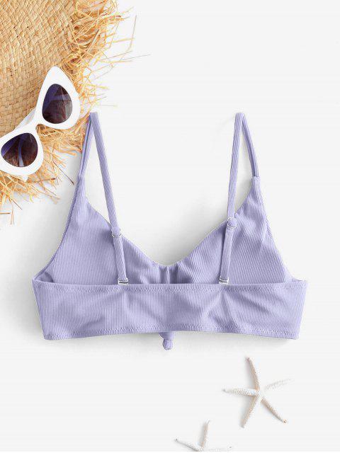 ZAFUL Top de Bikini Acanalado con Nudo Lateral - Azul Lavanda S Mobile