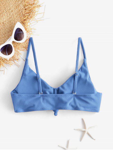 ZAFUL Top de Bikini Acanalado con Nudo Lateral - Azul de Seda M Mobile