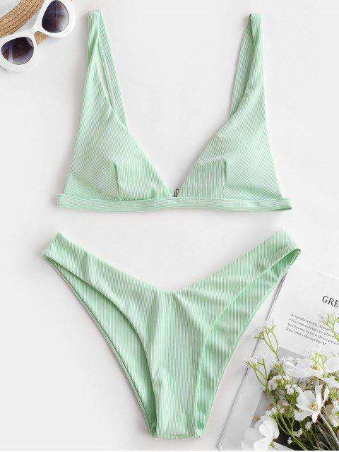 ZAFUL Tiefe Gerippte Bikini Badebekleidung mit Hohem Bein - Minzgrün L Mobile