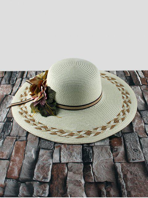 best Wide Brimmed Flowers Straw Hat - WHITE  Mobile
