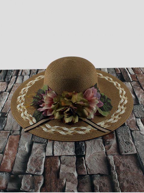 Sombrero de Paja de Flores con Visera Ancha - café  Mobile