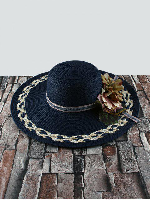 Sombrero de Paja de Flores con Visera Ancha - Cadetblue  Mobile