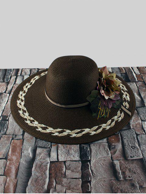 outfit Wide Brimmed Flowers Straw Hat - BROWN  Mobile