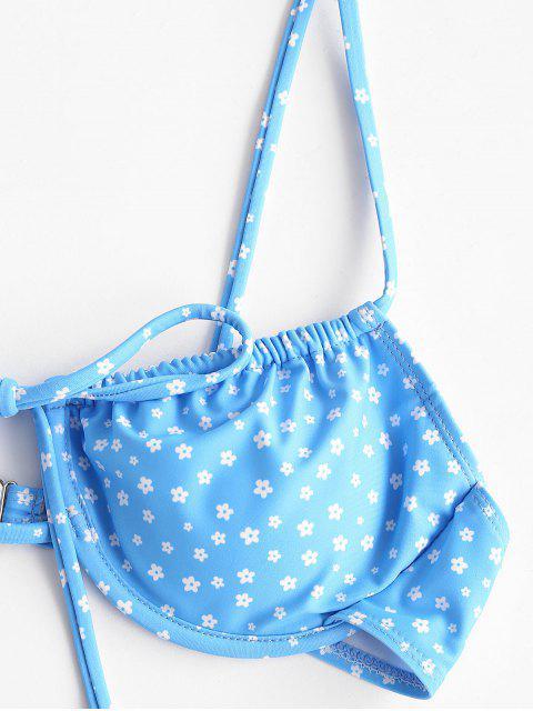 outfit ZAFUL Ditsy Print Tie Underwire Bikini Swimwear - DAY SKY BLUE M Mobile