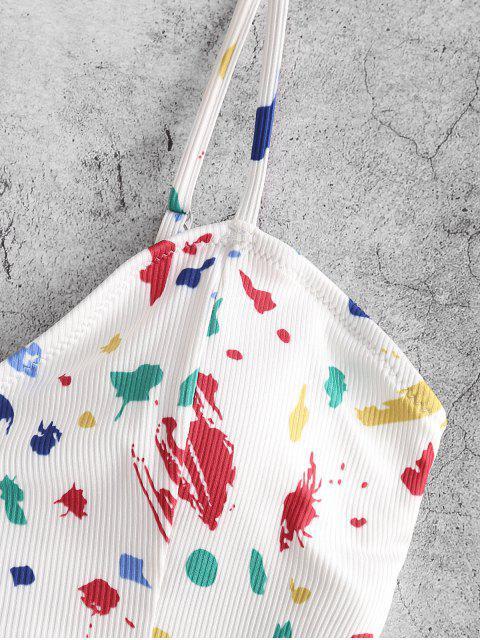 ZAFUL Tankini de Cintura Acanalado con Salpicadura y Pintura - Multicolor-A M Mobile