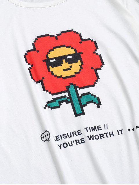shop Digital Sunflower Graphic Basic T-shirt - WHITE S Mobile