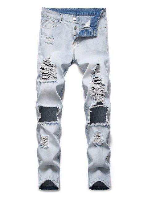 unique Destroyed Hole Decoration Button Fly Jeans - JEANS BLUE 34 Mobile