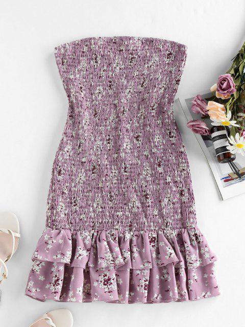 affordable ZAFUL Ditsy Print Smocked Bandeau Mermaid Dress - LILAC M Mobile