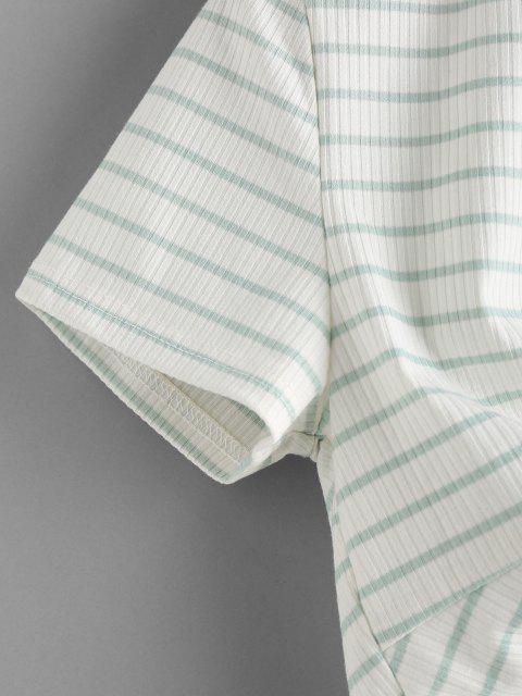 women's ZAFUL Stripe Twist Front Crop Tee - LIGHT GREEN S Mobile