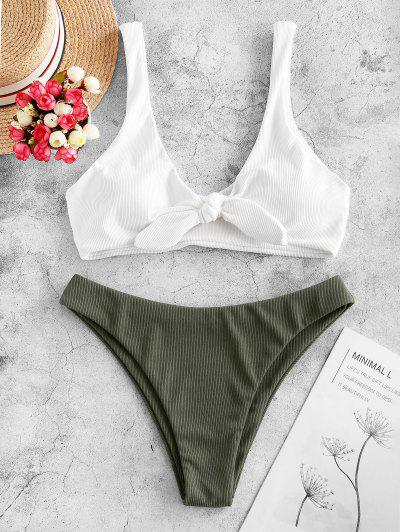 ZAFUL Ribbed Tie Front Bikini Swimsuit - White S