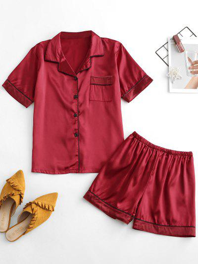 Short Stain Pajama Set With One Pocket - Red M