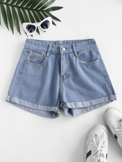 High Waisted Cuffed Hem Denim Shorts - Jeans Blue M