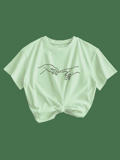 ZAFUL Basic Sketch Gesture Graphic T Shirt