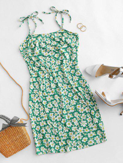 Vestido Ajustado Floral Lazo - Verde S