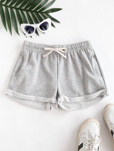 Pockets Drawstring Cuffed Hem Sweat Shorts - Light Gray S