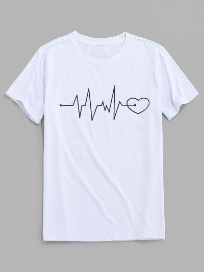 ZAFUL Graphic Heart Print Short Sleeves T-shirt - White L