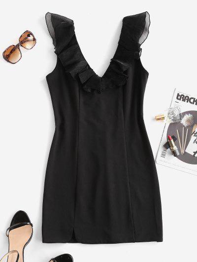 ZAFUL Tulle Panel Ruffles Slit Bodycon Dress - Black S